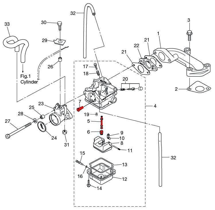 Tohatsu MFS3.5B carburetor diagram parts