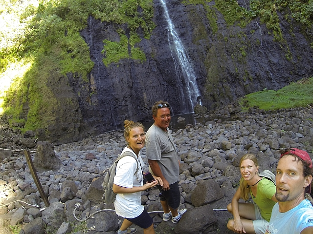 Tahiti, French Polynesia, Sailing, Green Panther, three water falls