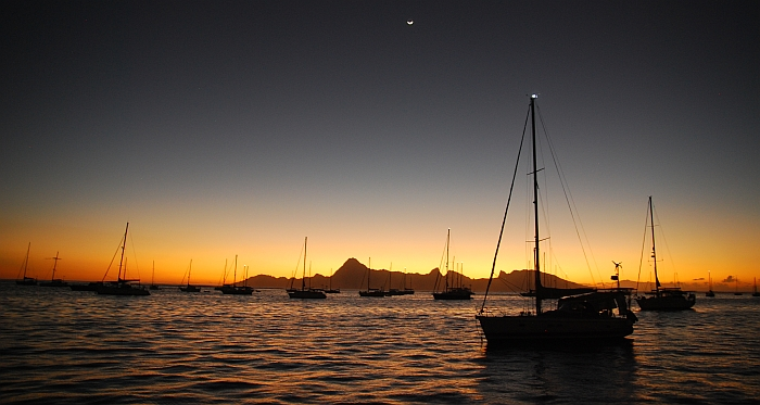 Tahiti, French Polynesia, Sailing, Green Panther, sunset, moorea